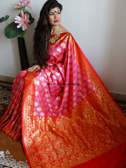 Banarasee/Banarasi Art Silk Sari -Pink & Red