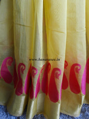 Banarasee Chanderi Cotton Saree Paisley Buti Design-Yellow
