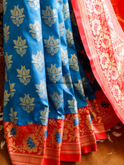 Banarasee/Banarasi Art Silk Sari -Cobalt Blue And Red