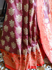 Banarasee/Banarasi Art Silk Sari -Chocolate Brown And Red