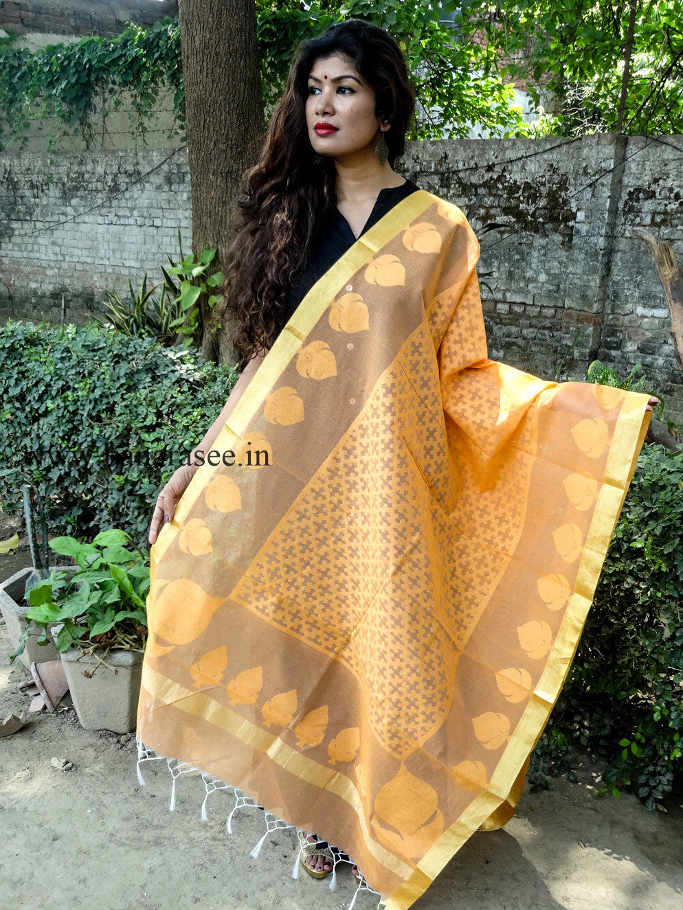 Banarasi Cotton Patterned Dupatta-Orange