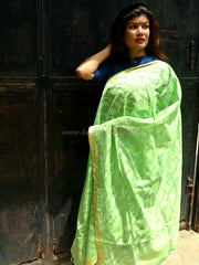 Banarasi Silk Cotton Patterned Dupatta-Green