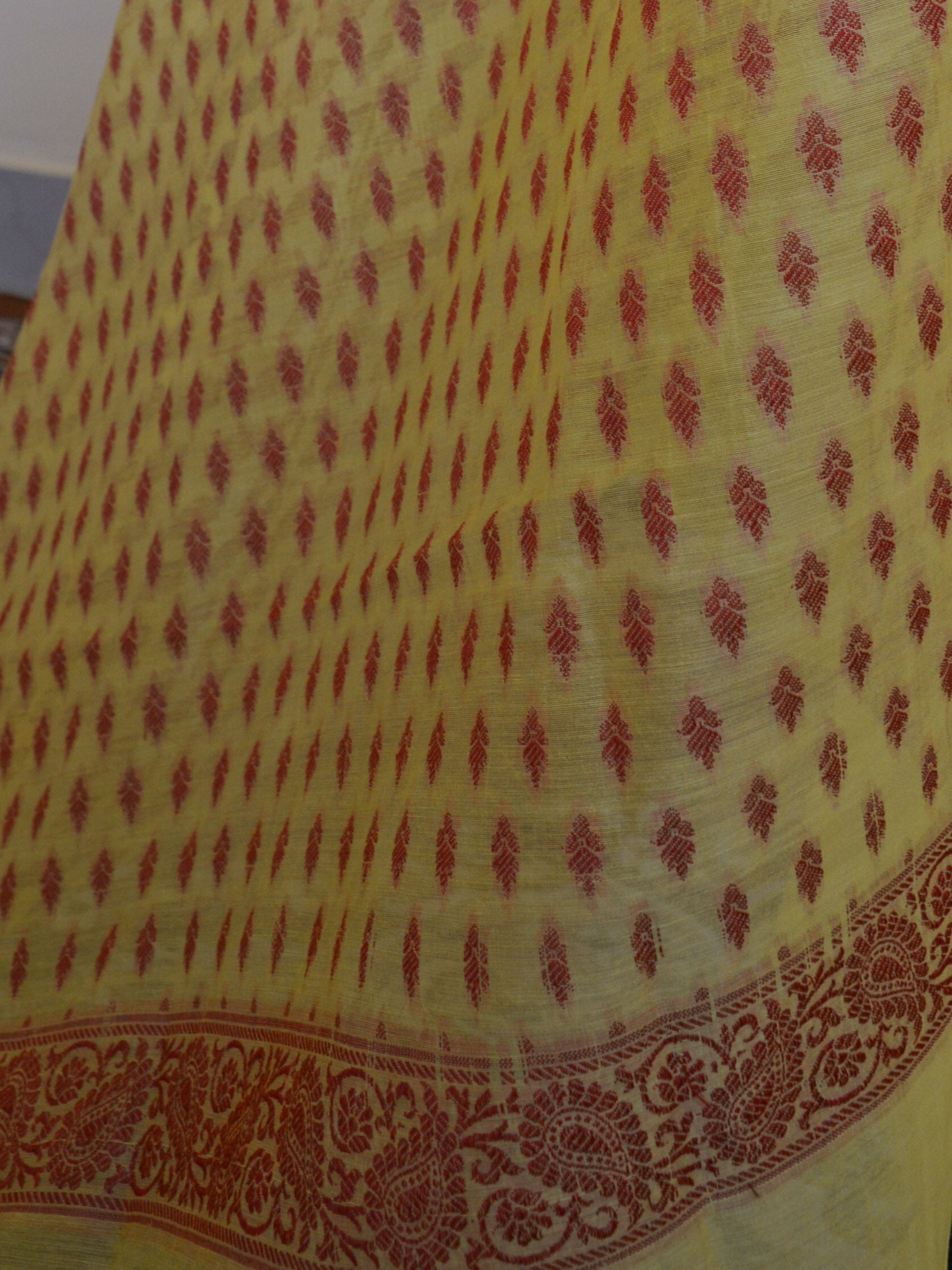 Banarasee Salwar Kameez Cotton Silk Woven Resham Buti Fabric & Dupatta-Yellow