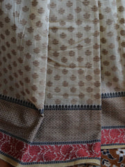 Banarasee Silk Cotton Saree Khichha Floral Jaal Design-Beige