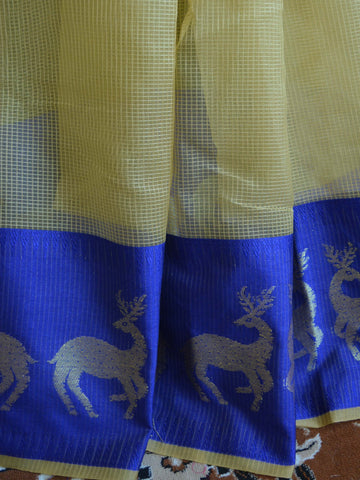 Banarasee Soft Cotton Saree With Zari Deer Motifs On Contrast Blue Border-Beige