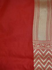 Banarasee Handwoven Art Silk Leaf & Zig-Zag Motif Saree Half & Half-Off White & Red