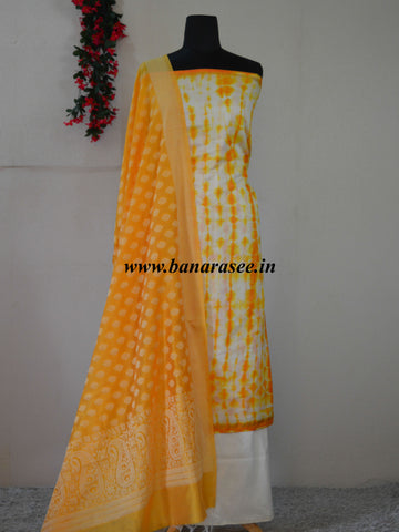 Banarasee Shibori Dyed Chanderi Salwar Kameez Fabric With Contrast Dupatta-Off White