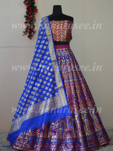 Banarasee Handwoven Art Silk Unstitched Lehenga & Blouse Fabric With Meena Work & Dupatta-Purple