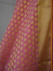 Banarasee Semi Silk Salwar Kameez Fabric With Pink Zari Buta Dupatta-Purple