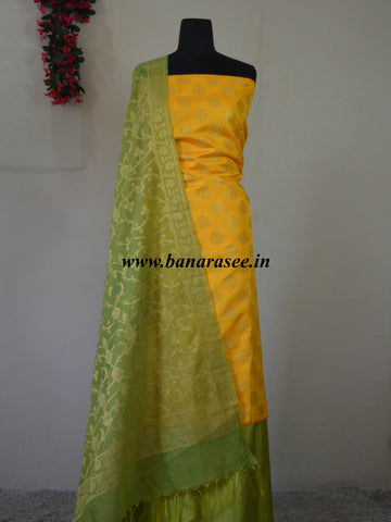 Banarasee Semi Silk Salwar Kameez Fabric With Green Zari Jaal Dupatta-Yellow