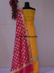 Banarasi Chanderi Cotton Salwar Kameez Fabric With Contrast Pink Dupatta-Yellow