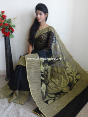 Handwoven Net Gicha Border Saree With Heavy Pallu Design-Black