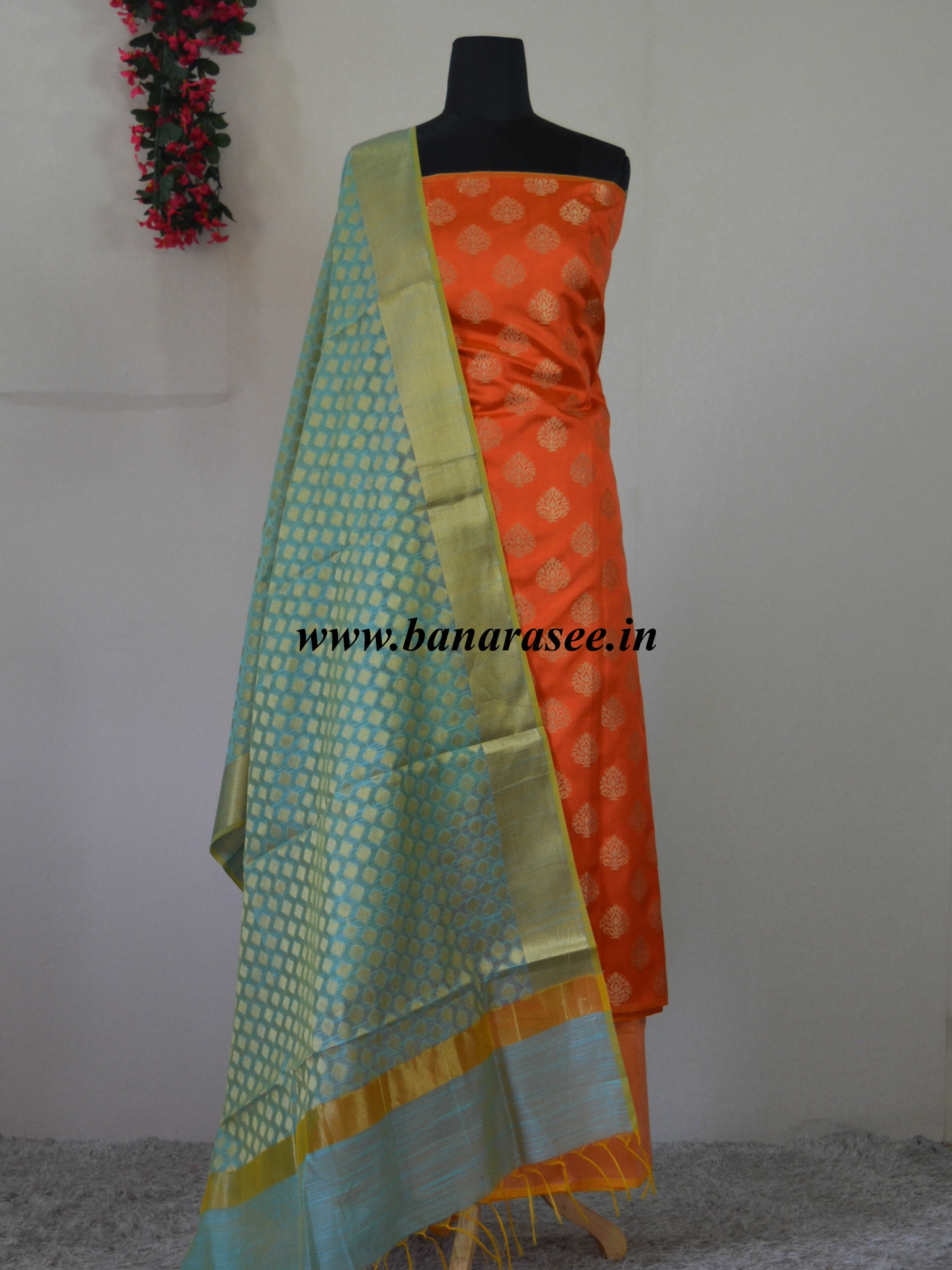 Banarasee Semi Silk Salwar Kameez Fabric With Green Zari Jaal Dupatta-Rust