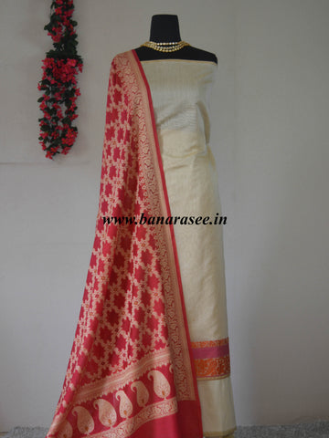 Banarasee Cotton Silk  Salwar Kameez Fabric With Pink Zari Jaal Dupatta-Off White