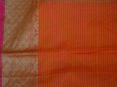 Banarasee/Banarasi Handloom Faux Dupion Silk Saree With Antique Gold Zari -Orange