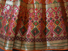Banarasee Handwoven Art Silk Unstitched Lehenga & Blouse Fabric With Meena Work-Bright Orange