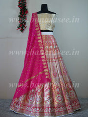 Banarasee Handwoven Art Silk Unstitched Lehenga & Blouse Fabric With Meena Work & Dupatta-Off White