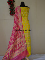 Banarasee/Banarasi Handloom Pure Chiffon Silk Salwar Kameez With Meena Woven Fabric-Lemon Yellow