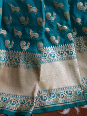 Banarasee Handwoven Art Silk Animal Motif Saree Half & Half-Green & Red