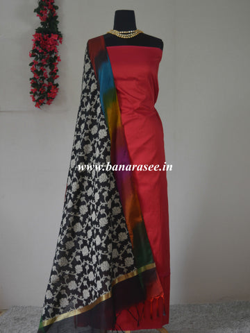 Banarasee Cotton Silk Plain Salwar Kameez Fabric With Resham Jaal Dupatta-Red