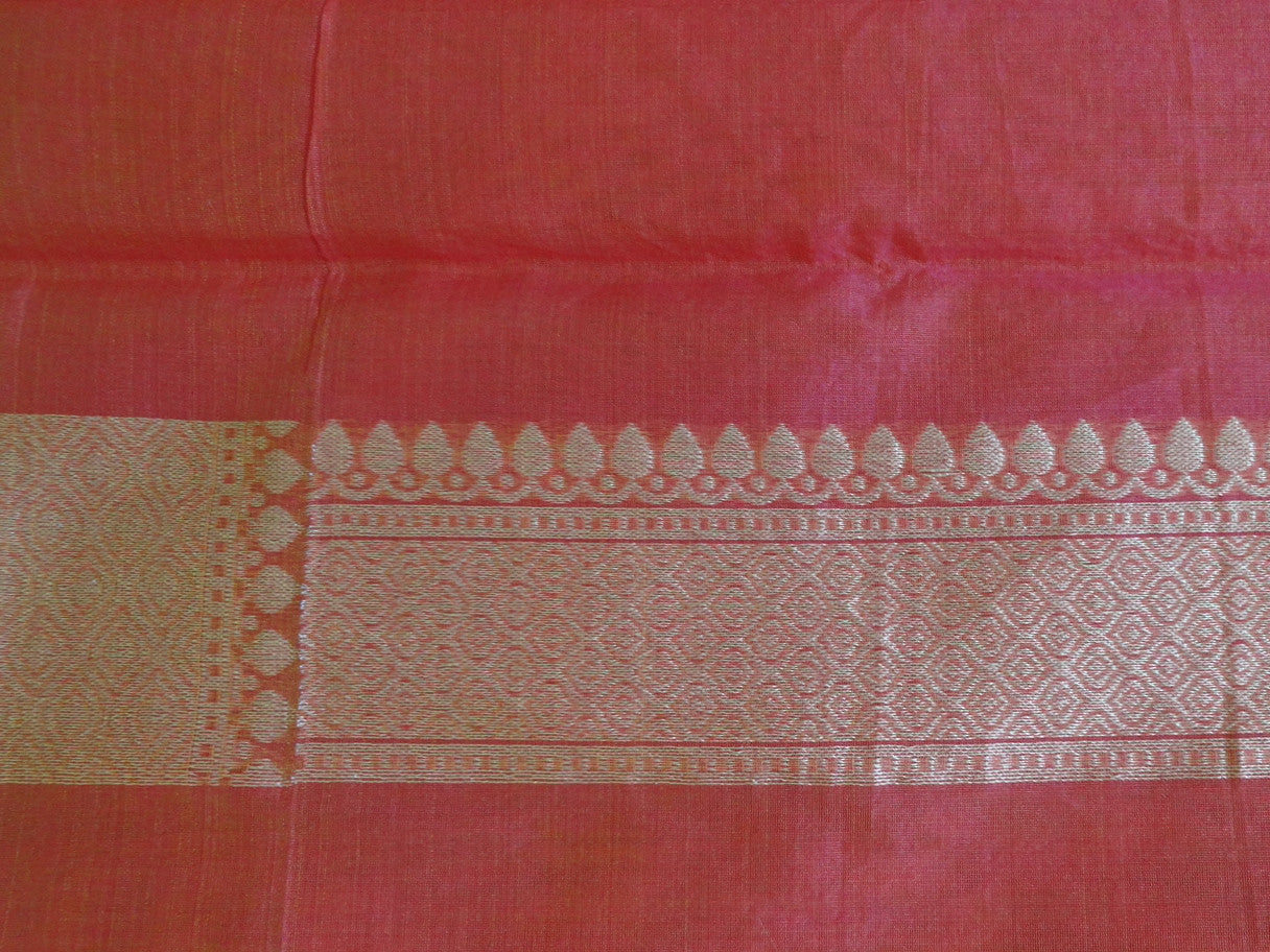 Banarasee/Banarasi  Handloom Cotton Silk Dual Tone Sari With Zari Weaving-Peach