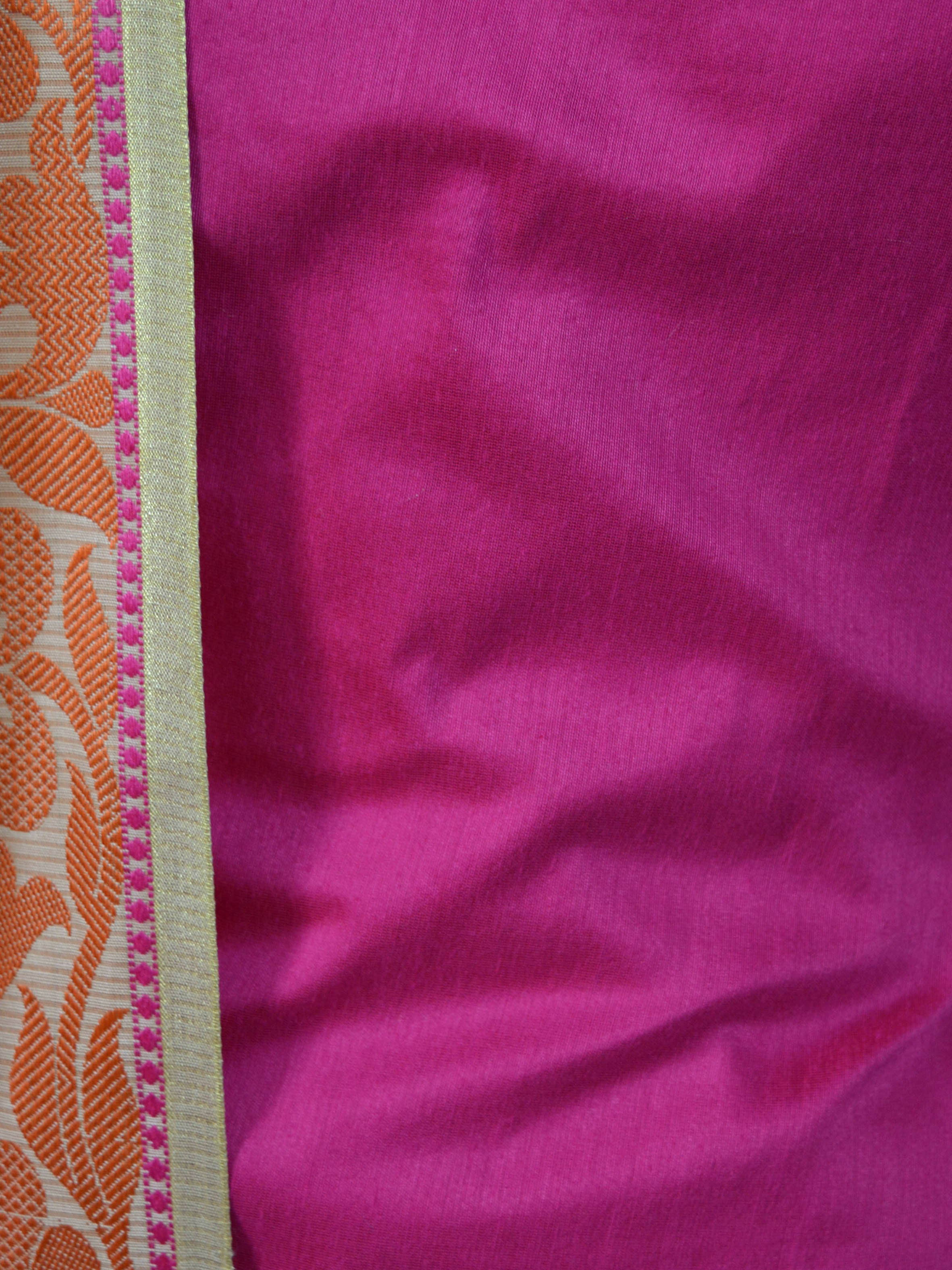 Banarasee Salwar Kameez Cotton Silk Fabric With Contrast Meena Border Dupatta-Pink