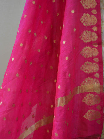 Banarasee Soft Munga Cotton Salwar Kameez Fabric With Contrast Hot Pink Dupatta-Off-White