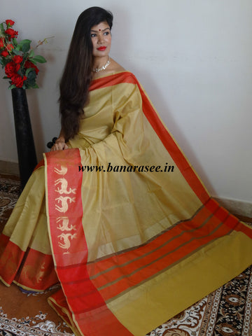 Banarasee Soft Cotton Saree With Zari Deer Motifs On Contrast Red Border-Beige