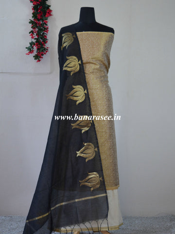 Banarasee Salwar Kameez Cotton Silk Antique Zari Fabric With Contrast Lotus Dupatta-Gold