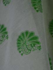 Banarasee Cotton Silk Plain Salwar Kameez Fabric With Hand Printed Dupatta-Green