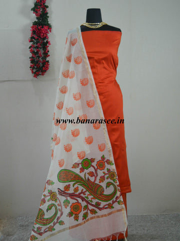 Banarasee Cotton Silk Plain Salwar Kameez Fabric With Hand Printed Dupatta-Orange