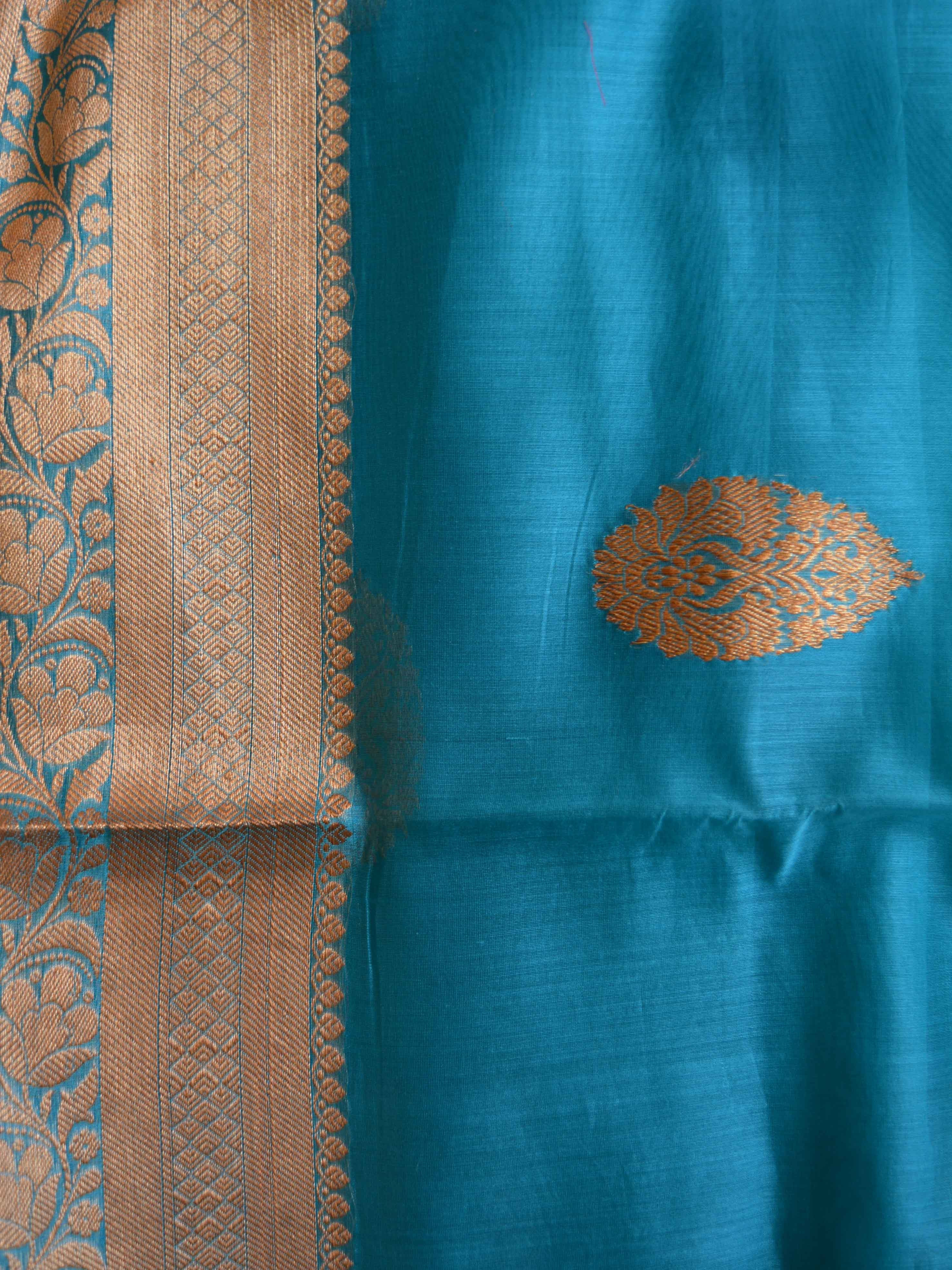 Banarasee/Banarasee Pure Handloom Silk Cotton Saree With Golden Border-Teal Blue