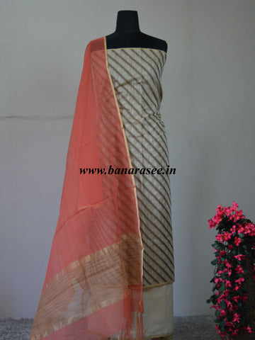 Banarasee Cotton Silk Salwar Kameez Ghicha Fabric With Contrast Pink Dupatta-Off White
