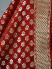 Banarasee Art Silk Dupatta Small Buti Design-Red