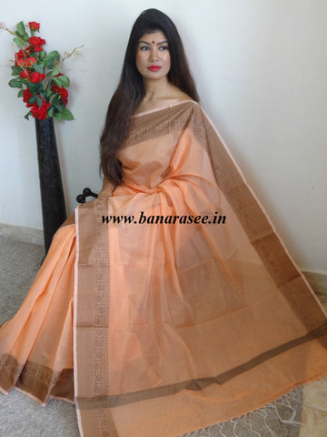 Banarasee Soft Cotton Saree With Khichha Border-Peach