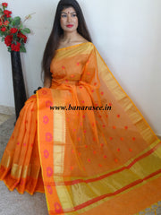 Banarasee Cotton Silk Mix Saree with Floral Zari & Resham Work Border-Orange