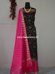 Banarasee Soft Munga Cotton Salwar Kameez Fabric With Contrast Hot Pink Dupatta-Black
