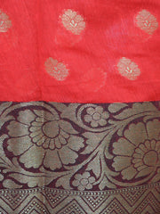 Banarasee Chanderi Cotton Salwar Kameez Fabric With Contrast Zari Border Dupatta-Red