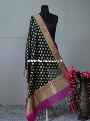 Art Silk Dupatta With Buti Design & Floral Border-Black