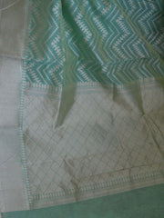 Banarasee/Banarasi  Handloom Cotton Silk  Sari With Zari Jaal Weaving-Sea Green