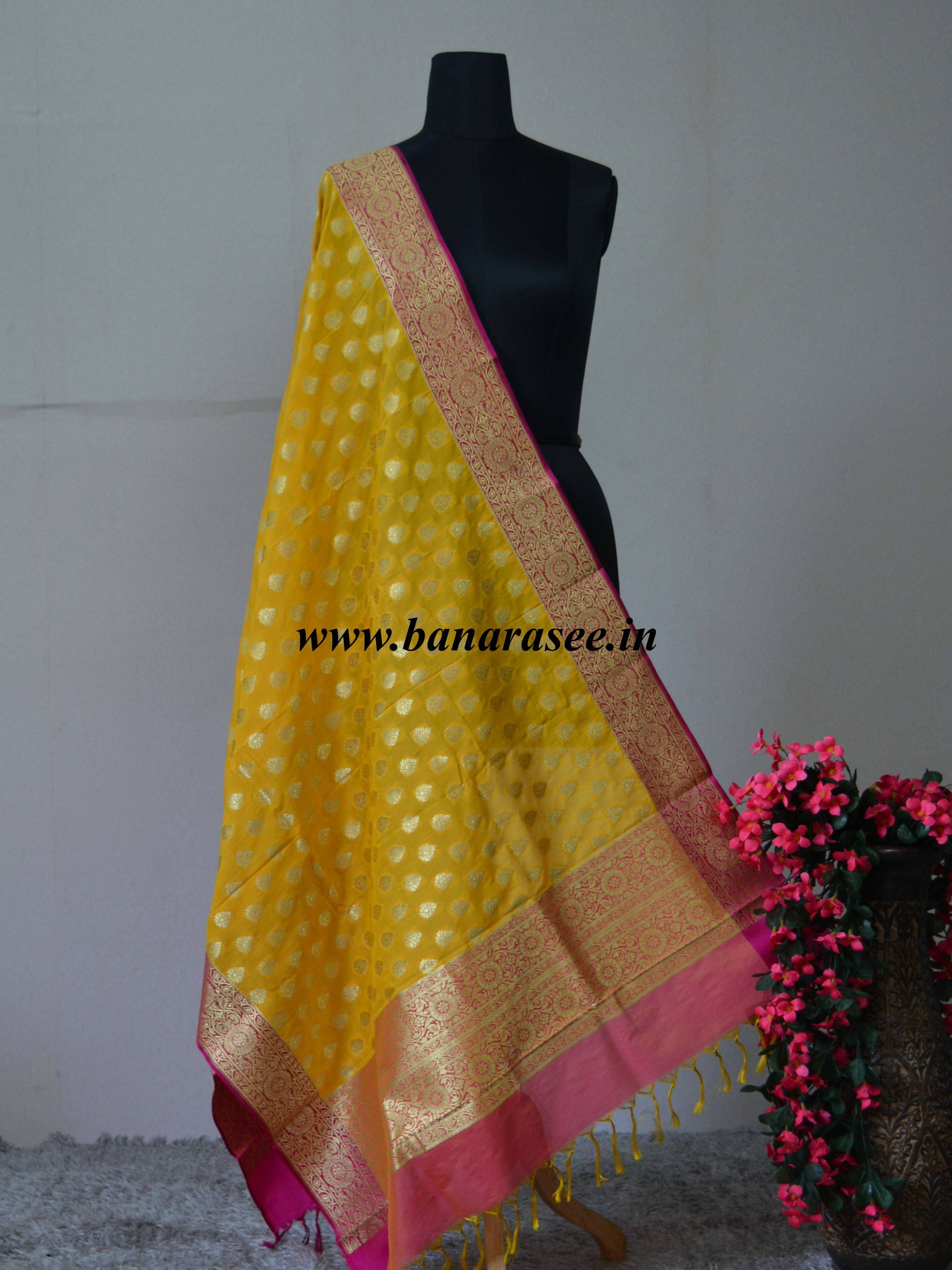 Art Silk Dupatta With Buti Design & Floral Border-Yellow