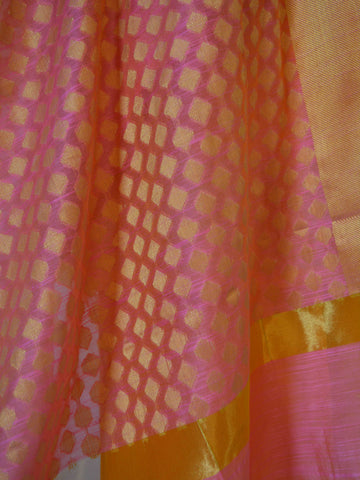 Banarasi Chanderi Cotton Salwar Kameez Fabric With Contrast Zari Buti Dupatta-Yellow