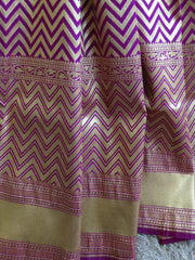 Banarasee Handwoven Art Silk Leaf & Zig-Zag Motif Saree Half & Half-Blue & Purple