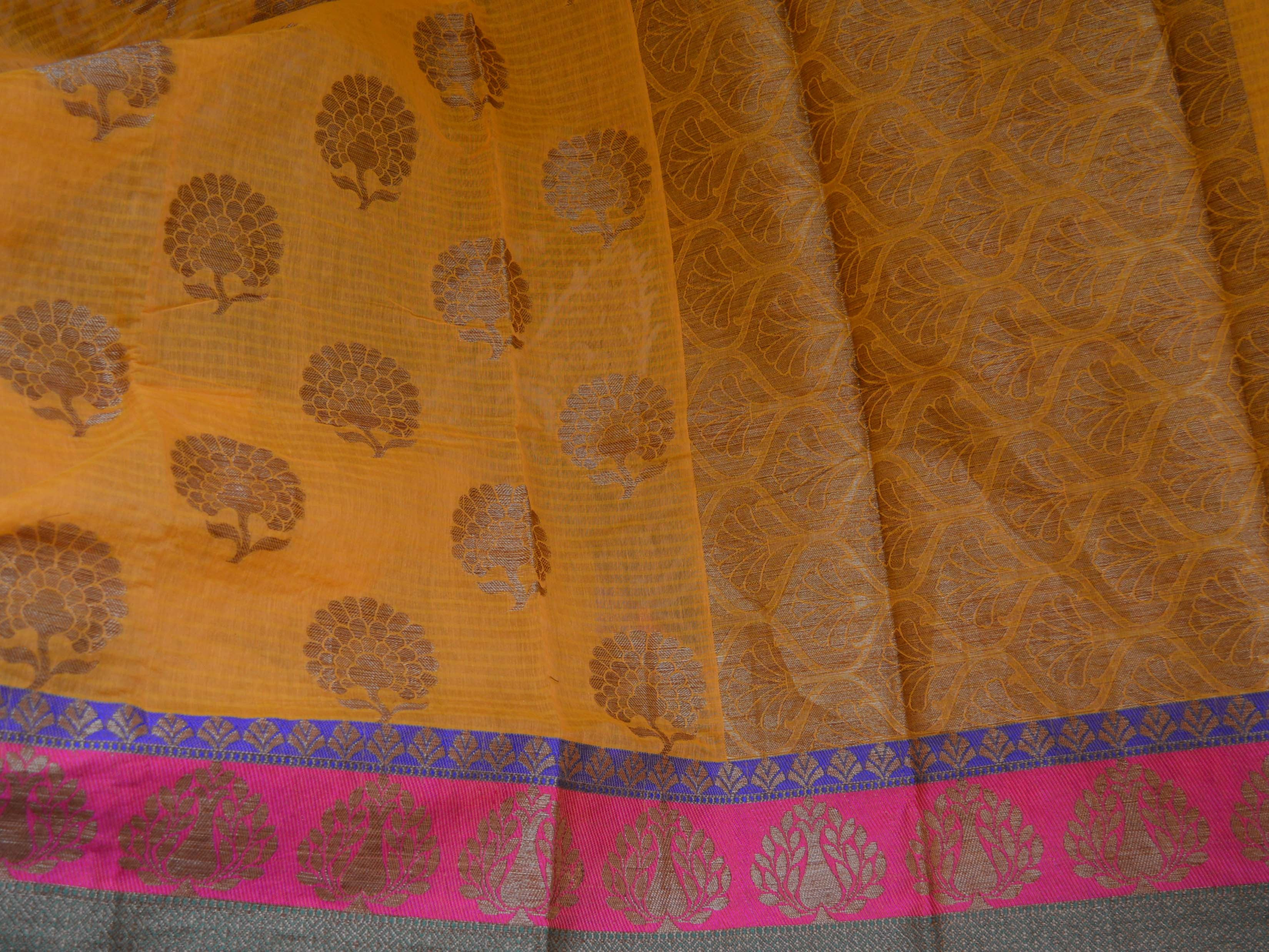 Banarasee/Banarasi Handloom Faux Dupion Silk Saree With Gold Zari Floral Motif Border-Yellow