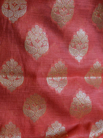 Banarasee Salwar Kameez Cotton Silk Gold Zari Buti Woven Fabric-Peach