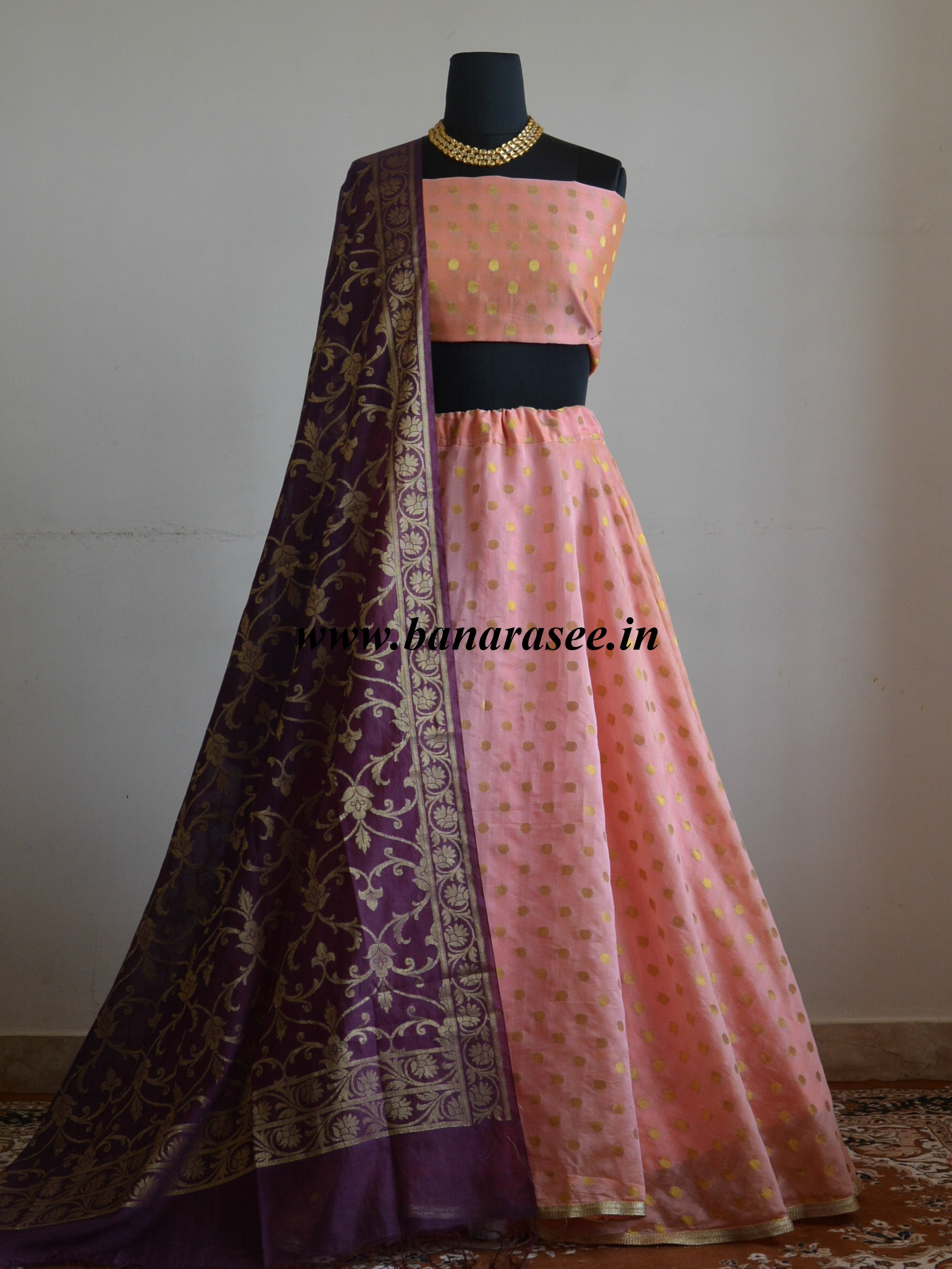 Banarasee Stitched Chanderi  Lehenga & Blouse Fabric With Wine Dupatta-Peach(Dual Tone)