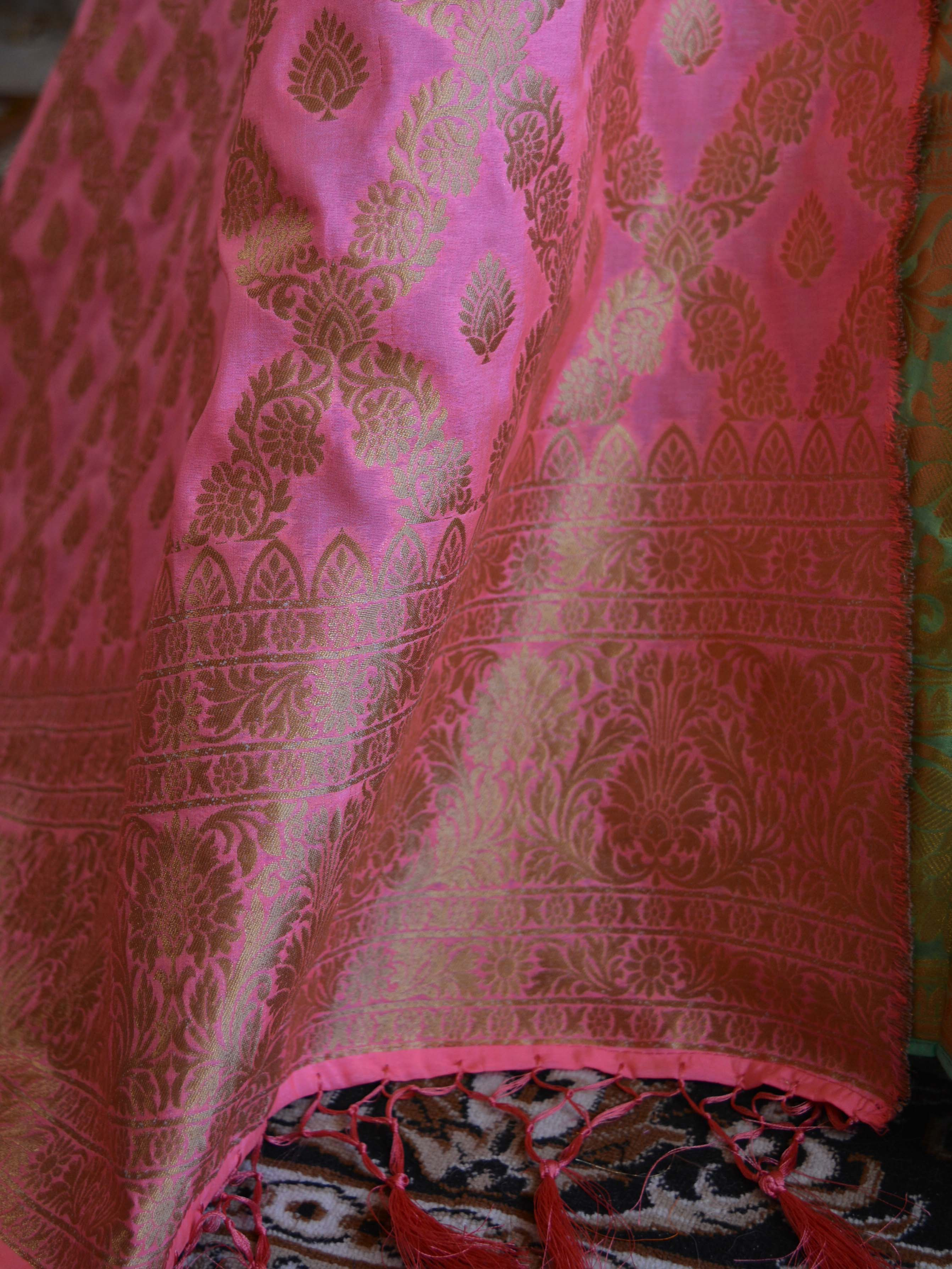 Banarasee Handwoven Art Silk Unstitched Lehenga & Blouse Fabric With Pink Dupatta-Pastel Green