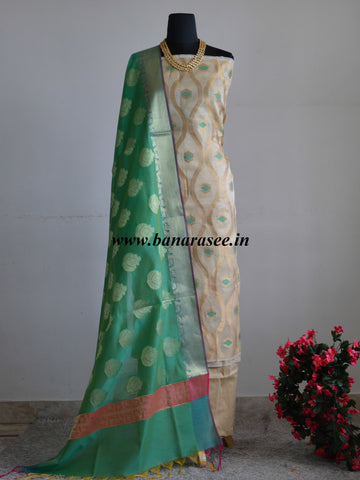 Banarasee Tissue Salwar Kameez Jaal Design Fabric With Green Zari Buta Dupatta-Gold