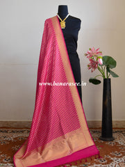 Banarasee Art Silk Dupatta With Polka Dot Design-Hot Pink