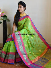 Banarasee Handloom Silk Cotton Saree With Zari Buti & Contrast Floral Border-Green